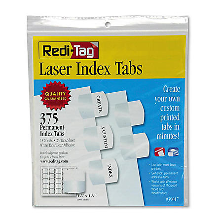 Redi-Tag - Laser Printable Index Tabs, 1 1/8 x 1 1/4, White -  375/Pack