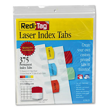 Redi-Tag - Laser Printable Index Tabs, 1 1/8 x 1 1/4, 5 Colors -  375/Pack
