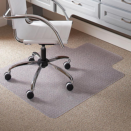 "ES Robbins® Task Series Chair Mat with AnchorBar for Carpet up to 0.25"", 36 x 48, Clear"