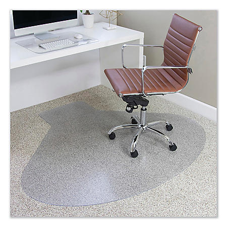 ES Robbins® EverLife Chair Mats for Medium Pile Carpet, Contour,  66 x 60, Clear