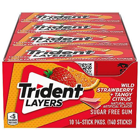 Trident Layers Strawberry & Citrus Sugar Free Gum (14 per pk., 10 pk.)