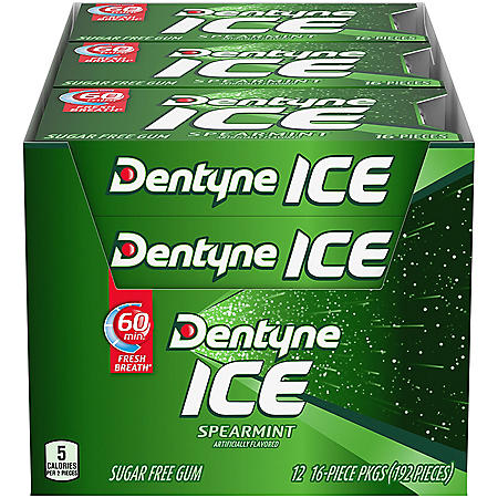 Dentyne Ice Spearmint Sugar Free Gum (16 pieces, 12 pk.)
