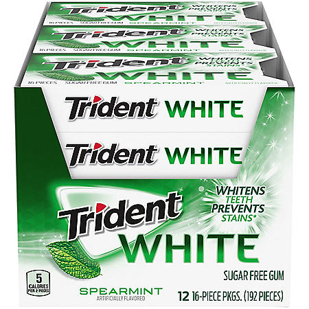 Trident White Spearmint Sugar Free Gum (16 ct., 12 pks.)