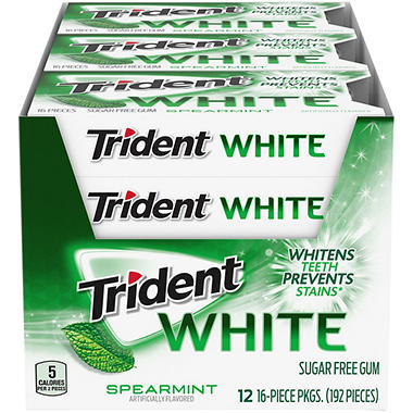 Trident White Spearmint Sugar Free Gum - 16 ct. - 12 pk.