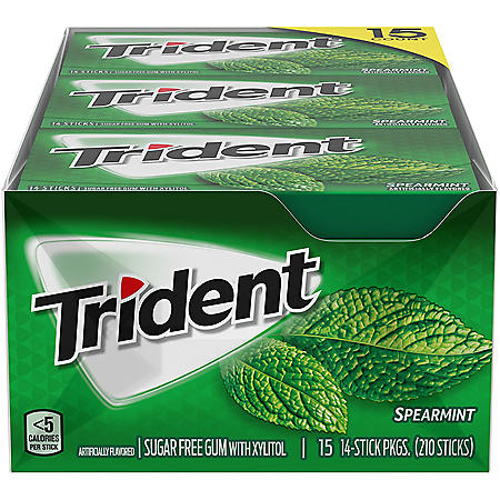 Trident Spearmint Sugar Free Gum, 15 Packs of 14 Pieces (210 Total Pieces)
