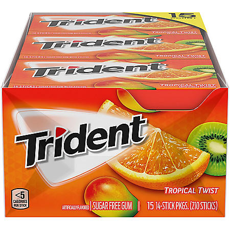 Trident Tropical Twist Sugar-Free Gum (14 ct., 15 pks.)