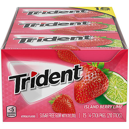 Trident Island Berry Lime Sugar Free Gum (14 pieces, 15 pk.)