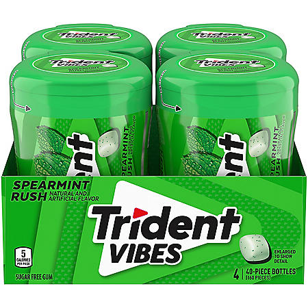 Trident Vibes Spearmint Rush Sugar Free Gum (4 bottles)