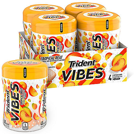 Trident Vibes Tropical Beat Sugar Free Gum, 4 Bottles of 40 Pieces (160 Total Pieces)
