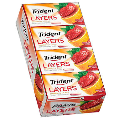 Trident Layers Strawberry+Tangy Citrus (14 ct., 10 pks.)