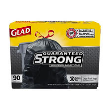 Glad Extra Strong Drawstring Large Trash Bags, 30 Gallon (90 ct.)