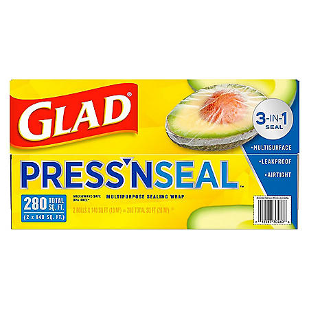 Glad Press'n Seal Food Plastic Wrap - 280 Square Feet - 2 Pack