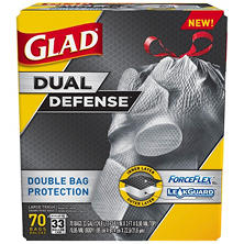 Glad Dual Layer Large Outdoor Drawstring Trash Bags (33 gal. 70 ct.)