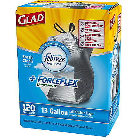 Glad ForceFlex Odor Shield Trash Bags -120 ct. - 13 gal.