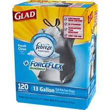 Glad ForceFlex OdorShield Tall Kitchen Drawstring Trash Bags, Fresh Clean, 13 Gallon, 120 Count