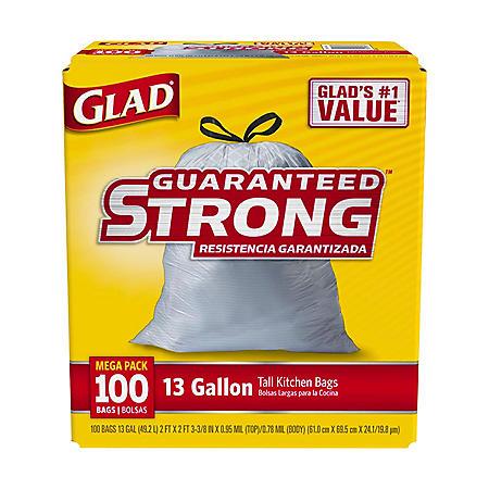Glad Tall Kitchen Drawstring Trash Bags, 13 Gallon (100 ct.)