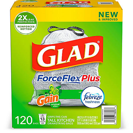 Glad® Tall Kitchen Drawstring Trash Bags – ForceFlexPlus™ 13 Gallon White Trash Bag, Gain Original with Febreze Freshness – 120 Count