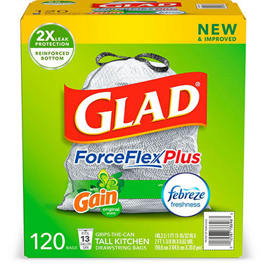 Glad ForceFlex OdorShield Tall Kitchen Drawstring Trash Bags, Gain Original Scent (13 gal., 120 ct.)
