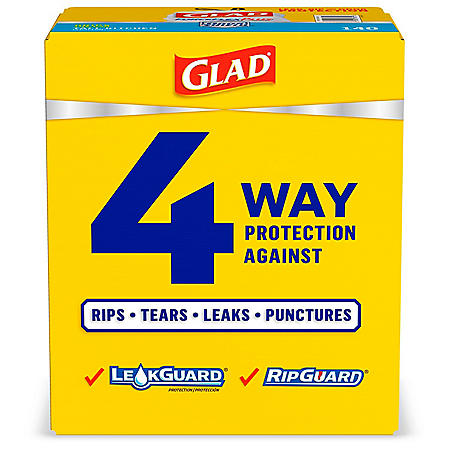 Glad Tall Kitchen Drawstring Trash Bags, ForceFlexPlus 13 Gallon White Trash Bag, Unscented (140 ct.)