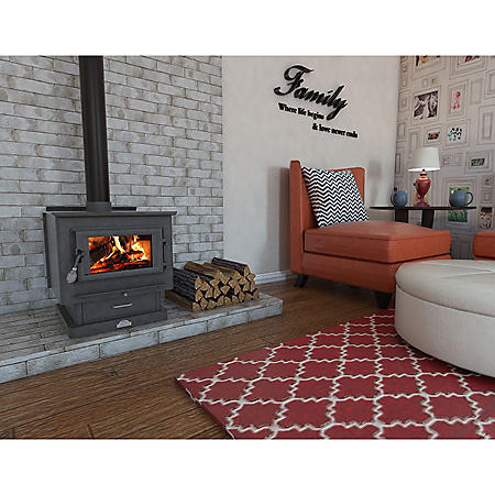 US Stove 3,000 sq. ft. EPA-Certified Wood Burning Stove with Ash Vacuum