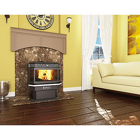 US Stove 2,200 sq. ft. AP5660 Ashley Bay Front Pellet Stove with Pellet Vent Kit