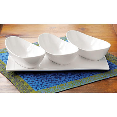 Porcelain Platter and Oval Bowls Set