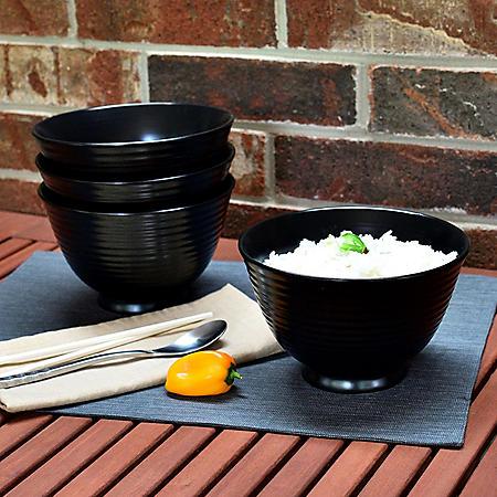 Over and Back Black Noodle Bowls, Set of 4