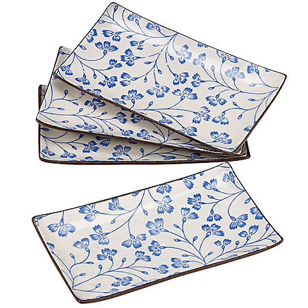 Over and Back Floral Serve Platters, Set of 4 (Assorted Colors)