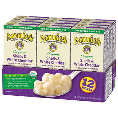 annie s organic shells and white cheddar macaroni and cheese 12 pk