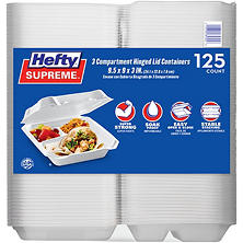 Member's Mark Three-Compartment Hinged Lid Container by Hefty (125 ct.)