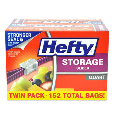 Hefty Slider Bag Quart Storage Twin Pack (152 ct.)