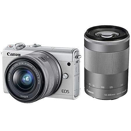 Canon EOS M100 15-45mm and 55-200mm Bundle, White
