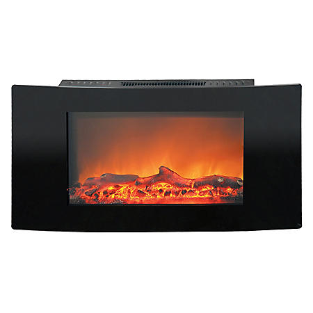 "Cambridge Callisto 35"" Wall-Mount Electric Fireplace with Curved Panel and Realistic Log Display"