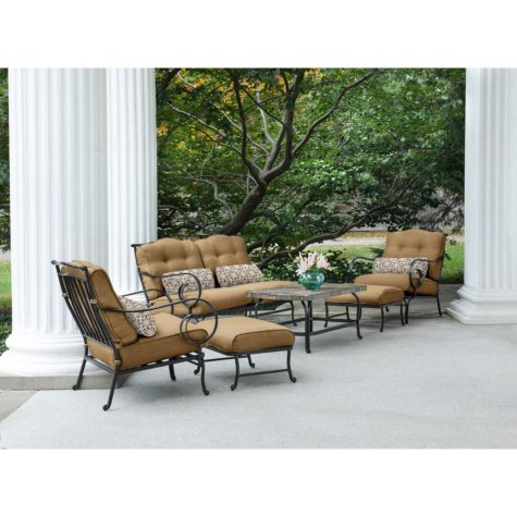 Oceana 6-Piece Patio Set with Stone-Top Coffee Table, Various Colors