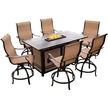 Hanover Monoco 8-Piece High Dining Set with 30K BTU Firepit Bar Table
