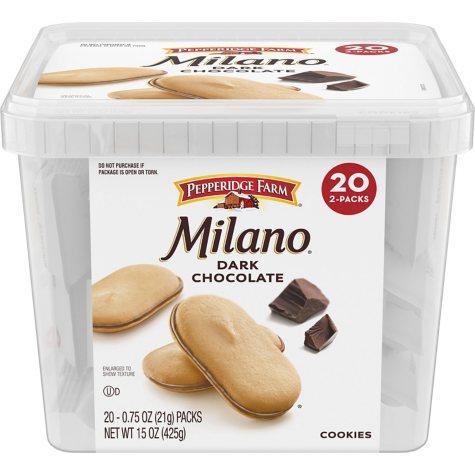 Pepperidge Farms Milano Dark Chocolate Cookies (0.75 oz. pks., 20 ct.)
