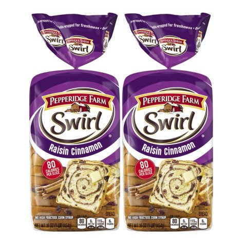 Pepperidge Farm Raisin Cinnamon Swirl Bread (2 pk. 32 oz.)