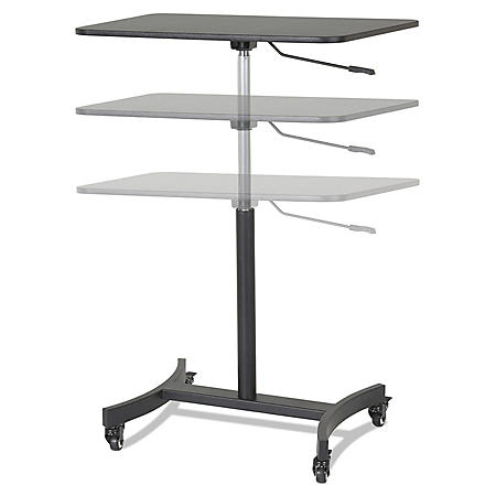 "Victor High Rise Mobile Adjustable Sit-Stand Workstation, 30 3/4"" x 22"" x 44"", Black"