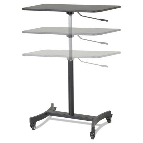 "Victor High Rise Mobile Adjustable Sit-Stand Workstation, 30 3/4"" x 22"" x 44"", Black"