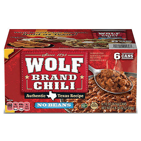 "Wolf Brand ""No Bean"" Chili (15oz., 6pk.)"