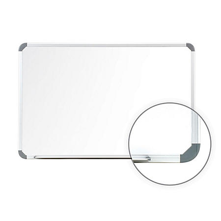 Ghent Aluminum Radial Edge Euro-Style Magnetic Whiteboard, White - Choose Size