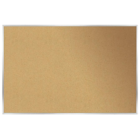 "Ghent Aluminum Frame Natural Cork Bulletin Board, 18"" x 24"", Natural"
