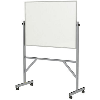 Ghent Aluminum Frame Free Standing Reversible Markerboard, 72.5
