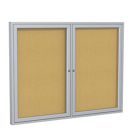 "Ghent 2-Door Satin Aluminum Frame Enclosed Bulletin Board, 36""x48"", Natural Cork"