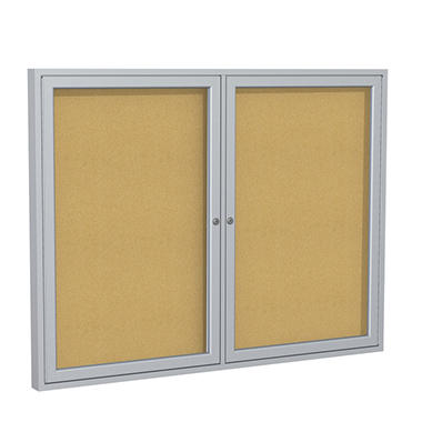 Ghent 2-Door Satin Aluminum Frame Enclosed Bulletin Board, 36