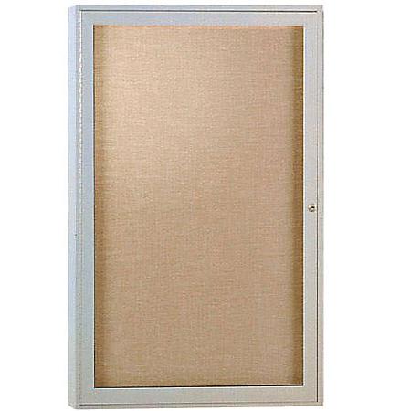 "Ghent 1-Door Satin Aluminum Frame Enclosed Vinyl Bulletin Board, 36"" x 24"", Caramel"