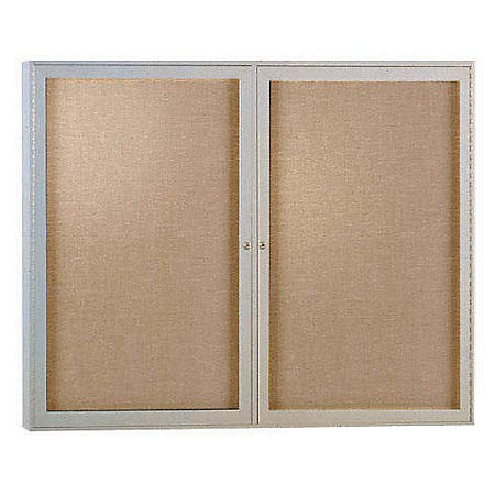 Ghent 2-Door Enclosed Satin Aluminum Frame Vinyl Bulletin Board - Choose Size