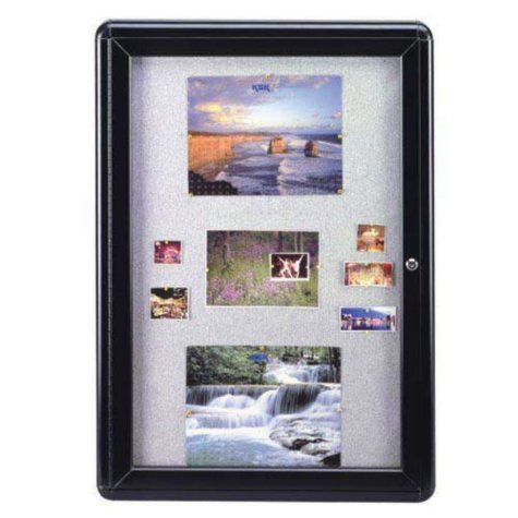 "Ghent 1-Door Ovation Gray Fabric Bulletin Board, 34"" x 24"" (Black Frame)"