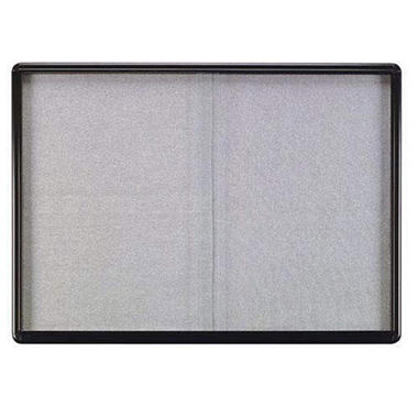 Ghent 2-Sliding Doors Ovation Gray Fabric Bulletin Board,  34