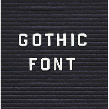 "Ghent 3/4"" Gothic Font Letters, Numbers, & Symbols, White"